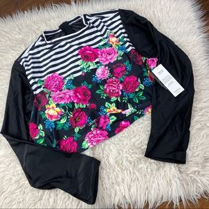 Torrid • Striped & Floral Cropped Swim Rash Guard